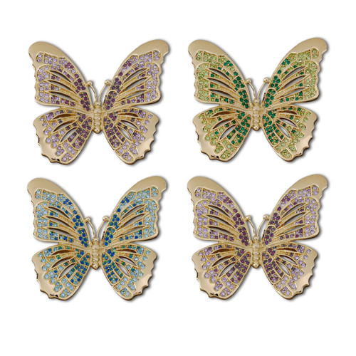 L'Objet Gold with Multi-Color Crystals Butterfly Napkin Holder