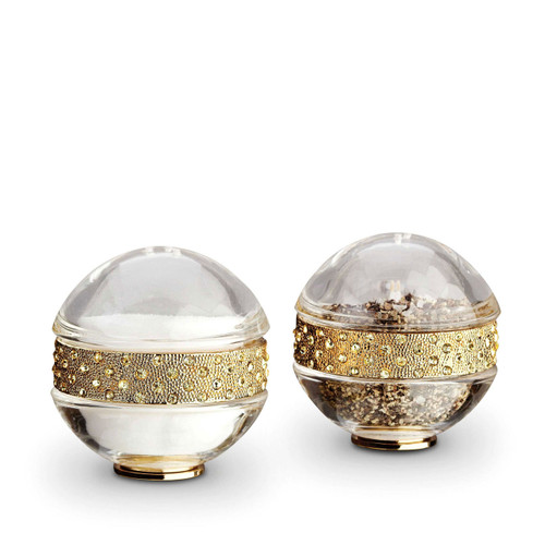 L'Objet Gold with Yellow Crystals Salt and Pepper Shaker Pave Band Spice Jewels