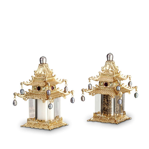 L'Objet Gold with Fresh Water Pearls with Yellow Crystals Salt and Pepper Shaker Pagoda Spice Jewels