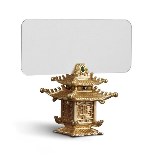 L'Objet Gold with Green Jade Stones Pagoda Place Card Holders