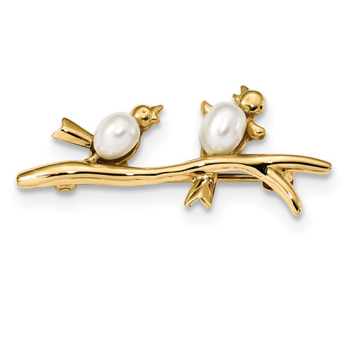 4-5mm White Rice Freshwater Cultured Pearl Pin 14k Gold PIN180