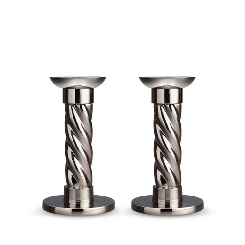 L'Objet Carrousel Candlesticks Small Set of Two Nickel-Plate