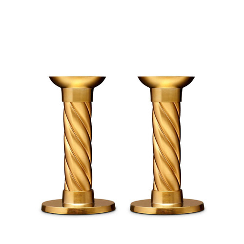 L'Objet Carrousel Candlesticks Small Set of Two Hand forged 24k Gold-plated