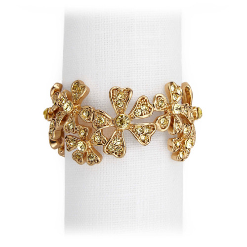 L'Objet Gold with Yellow Crystals Garland Napkin Holder
