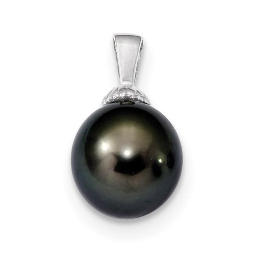 11-12mm Black Tahitian Cultured Pearl Pendant 14k white Gold XF461