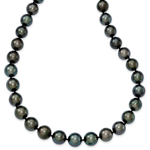 10-12mm Off-round Black Tahitian Cultured Pearl Grad. Neck 14k white Gold XF464-19