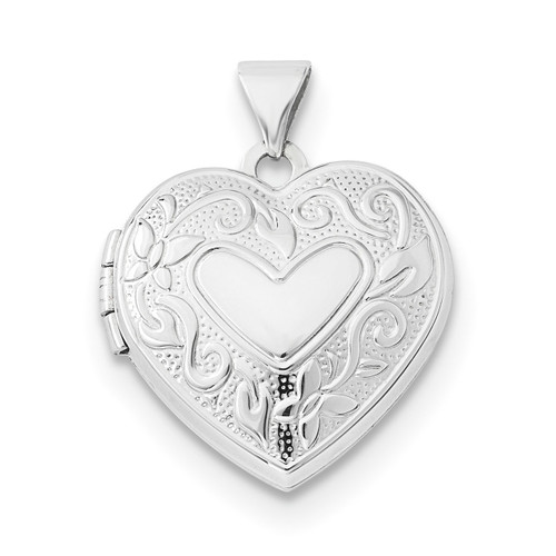 18mm Heart Locket 14k white Gold XL687