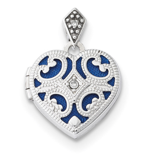 15mm Diamond Heart Locket 14k white Gold XL693
