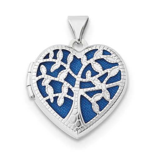 18mm Heart with Tree Locket 14k white Gold XL695