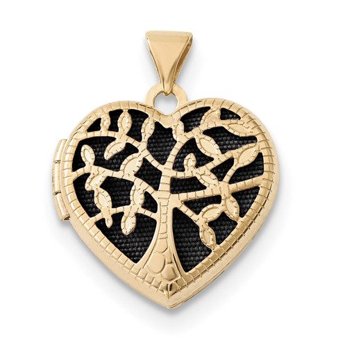 18mm Heart with Tree Locket 14k Gold XL696