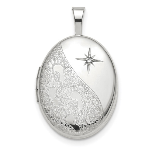16mm Diamond Footprints Oval Locket 14k white Gold XL722