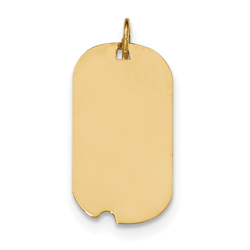 0.018 Gauge Engravable Dog Tag with Notch Disc Charm 14k Gold Plain XM560/18