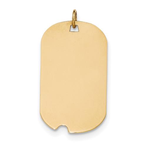 0.027 Gauge Engravable Dog Tag with Notch Disc Charm 14k Gold Plain XM563/27