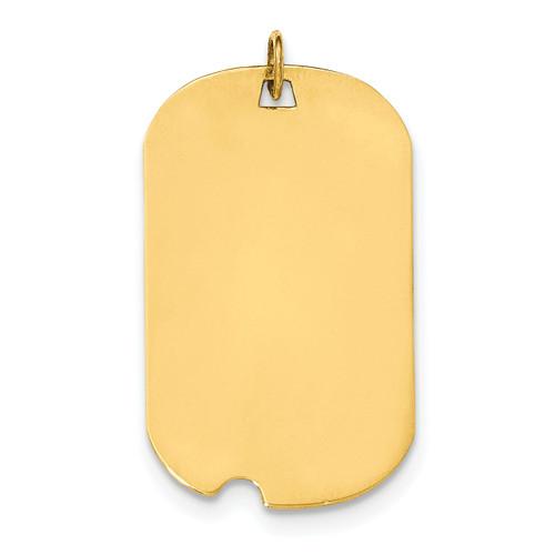 0.035 Gauge Engravable Dog Tag with Notch Disc Charm 14k Gold Plain XM572/35