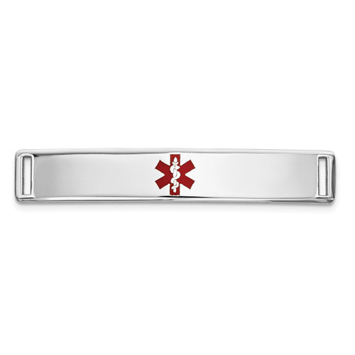 Epoxy Enameled Medical ID Ctr Plate # 817 14k white Gold XM644W