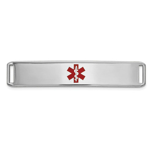 Epoxy Enameled Medical ID Ctr Plate # 819 14k white Gold XM652W