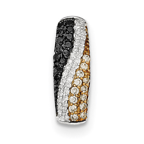 Black, Champagne and White Diamond Chain Slide 14k white Gold XP4735AA