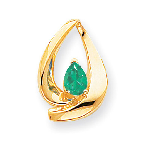 7x5mm Pear Emerald slide 14k Gold XS195E