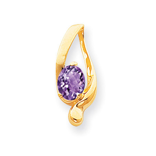 Amethyst Checker slide 14k Gold 8x6mm Oval XS197AC