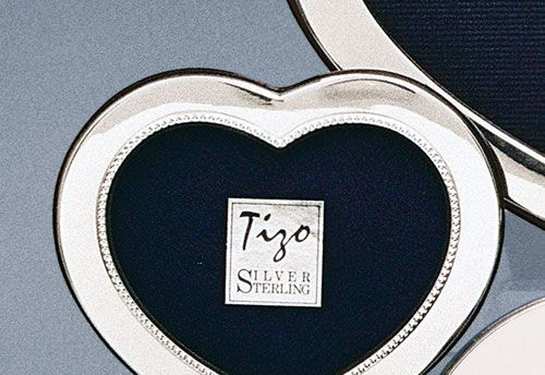 Tizo Bead Heart 2 x 3 Inch Sterling Silver Picture Frame