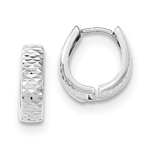 Textured and Polished Hinged Hoop Earrings 14k white Gold MPN: YE1679 UPC: 868044150004
