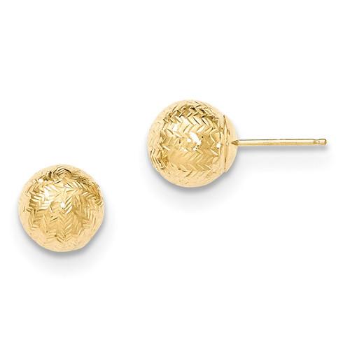 Round 8mm Groove Diamond Cut Ball Post Earrings 14k Gold MPN: YE1704 UPC: 191101360084