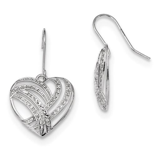 Polished Diamond Cut Dangle Heart Shepherd Hook Earrings 14k white Gold MPN: YE1807W