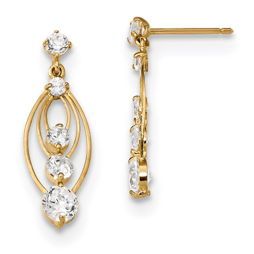 Fancy CZ Stud with CZ Dangle Post Earrings 14k Gold Polished MPN: YE1812