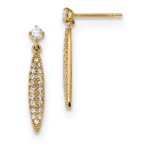 CZ Oval Dangle Post Earrings 14k Gold Polished MPN: YE1813