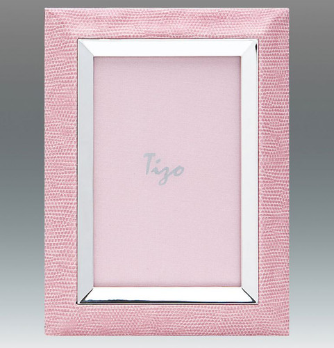 Tizo Leather City 5 x 7 Inch Silver Plated Picture Frame - Pink