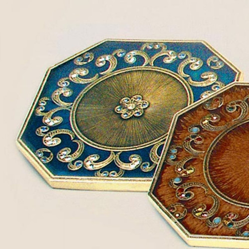 Tizo Floral Jeweled Coaster - Blue