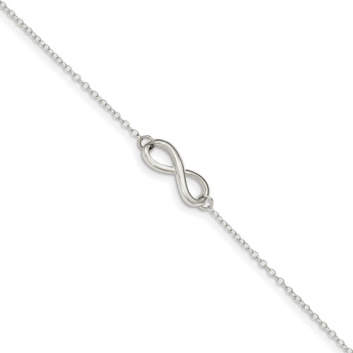 1 inch Extender Infinity Symbol Anklet Sterling Silver Polished QG3563-9