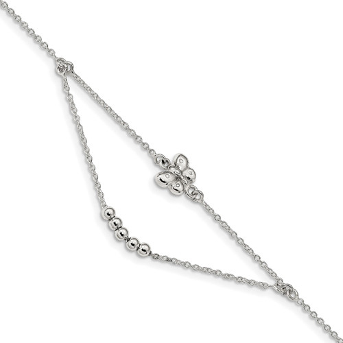 1 inch Extender Butterfly Anklet Sterling Silver Polished QG4202-9