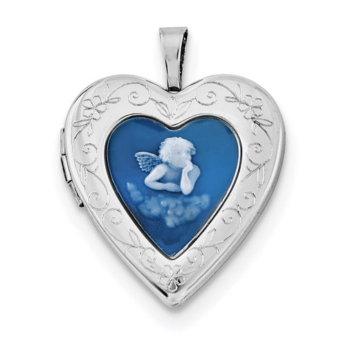 20mm Blue Agate Angel Cameo Locket Sterling Silver Rhodium-plated QLS683