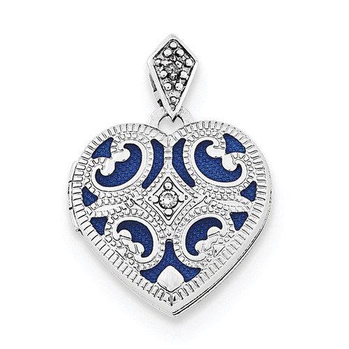 15mm Diamond Heart Locket Sterling Silver Rhodium-plated QLS701