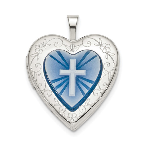 20mm Blue Resin Cross Cameo Heart Locket Sterling Silver QLS782