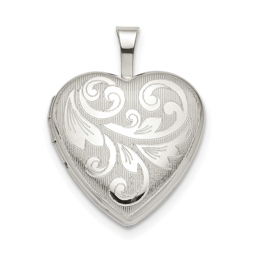 16mm Filigree Heart Locket Sterling Silver QLS799