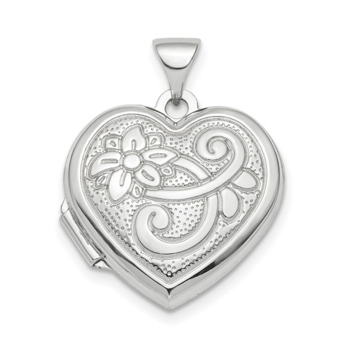 18mm Patterned Heart Locket Pendant Sterling Silver Rhodium-plated QLS810