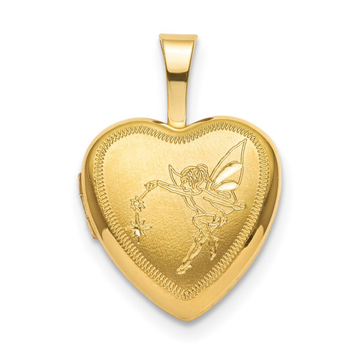 12mm Fairy Heart Locket Sterling Silver Gold-plated QLS831