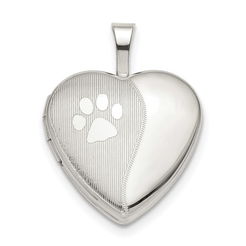 16mm Paw Print Heart Locket Sterling Silver QLS832