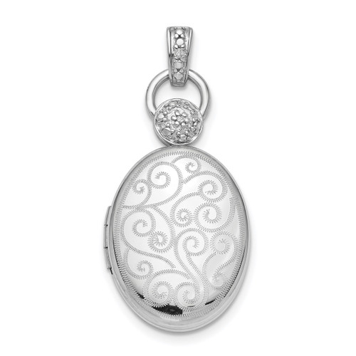 18mm Oval Diamond Accent Satin Locket Sterling Silver Rhodium QLS855