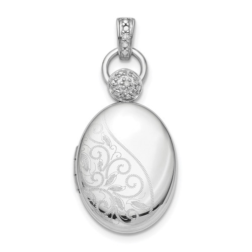 18mm Oval Diamond Accent Satin Locket Sterling Silver Rhodium QLS856