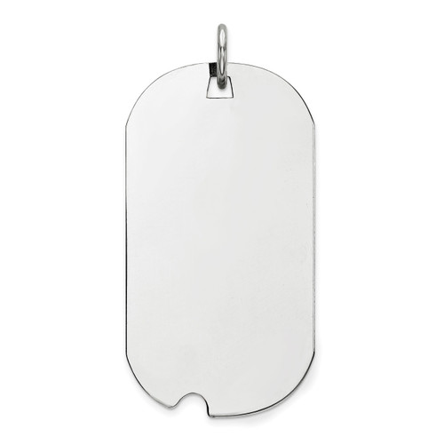 Engravable Dog Tag Polish Front Satin Back Disc Charm Sterling Silver Rhodium-plated QM503/18