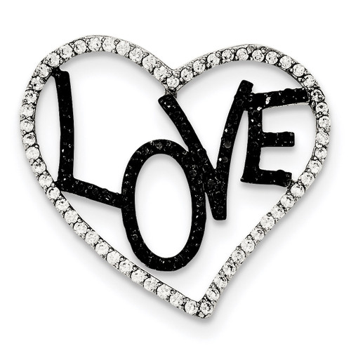 Black & White CZ Love in Heart Chain Slide Sterling Silver Polished QP4459