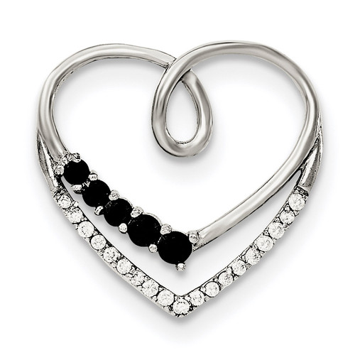 Black & White CZ Heart Chain Slide Sterling Silver Polished QP4461