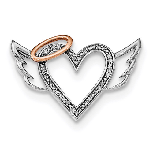 10K Rose Gold Diamond Heart Wings Slide Pendant Sterling Silver Rhodium QP4682