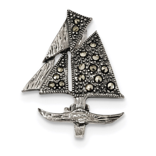 Marcasite Sailboat Pin Sterling Silver Antiqued MPN: QP4885