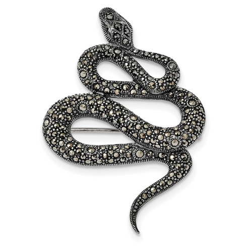 Marcasite Snake Pin Sterling Silver Antiqued MPN: QP4888