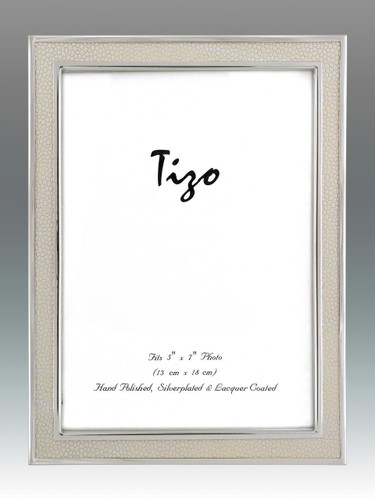 Tizo 5 x 7 Inch Shagreen Silver Plated Picture Frame - White