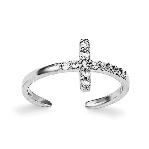 CZ Cross Toe Ring Sterling Silver Rhodium-plated QR6038